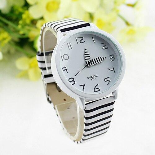 Hot Vendas Mulheres Stripes Strap Relógios Novo 2015 Cor Rodada Caso Relógio de Pulso Casual Relógios Novo Design 5DHF 6YNC
