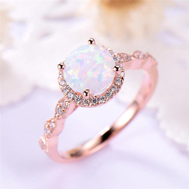 c875f9973bacb US $1.83 39% OFF|ROMAD Opal Rhinestone Women Rings Gift Box Jewelry Gift  Round Stone CZ Finger Rings Rose Gold Vintage Infinity Ring Drop ship R4-in  ...