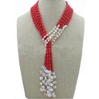 42 inches 3 Rows 4x8 mm Natural Red Rice Coral Beads & White Freshwater Pearls Necklace