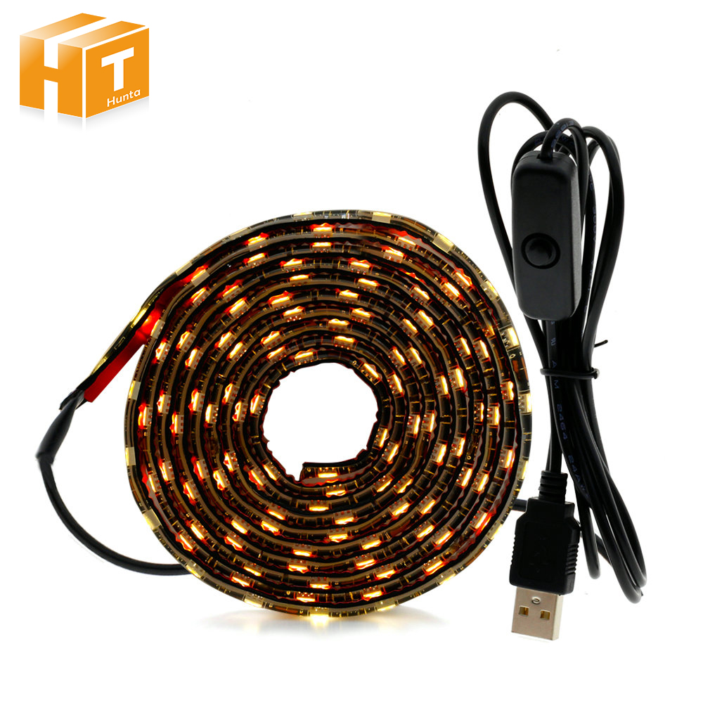 USB 5V LED Strip 5050 TV Background Lighting 50cm / 1m 2m 60LEDs/m Warm White Cable with Switch set
