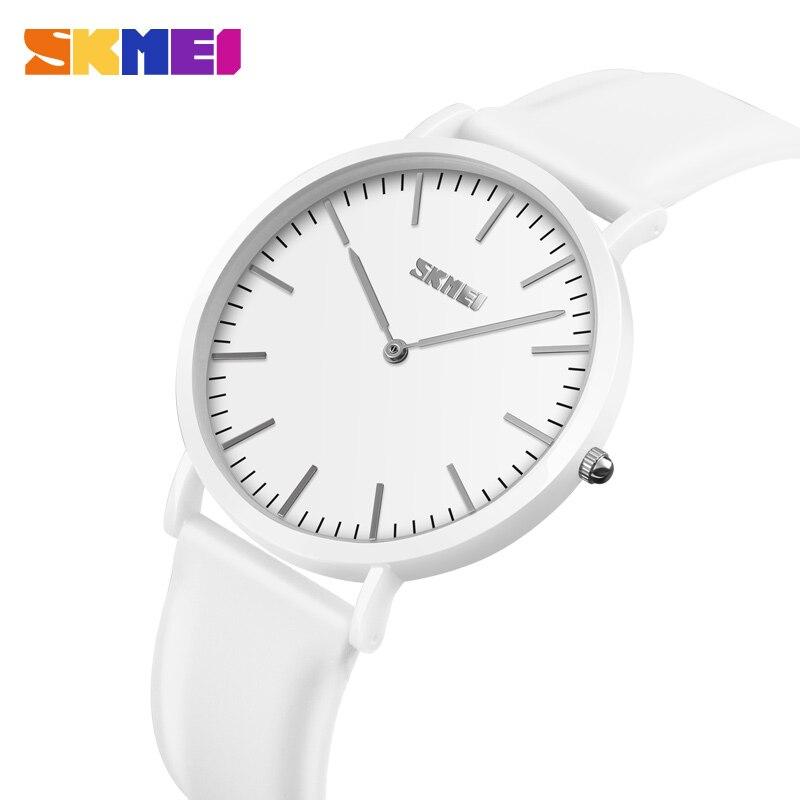 SKMEI Women Quartz Watch Luxury Brand Leather Strap Casual Fashion Couple Watch Clock 30M Waterproof Relogio Feminino 9179