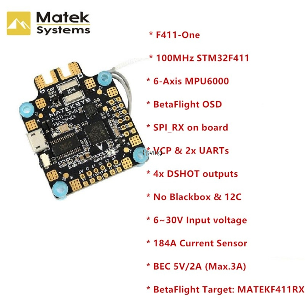 купить Matek System F411-One F411 F4 Flight Controller 30.5*30.5mm BetaFlight OSD 5V BEC Current Sensor For RC Models Multicopter по цене 2835.5 рублей