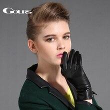 Gors المرأة قفازات جلد طبيعي أسود جلد الغنم إصبع قفازات شاشة لمس الشتاء سميكة الدافئة موضة القفازات جديد GSL087