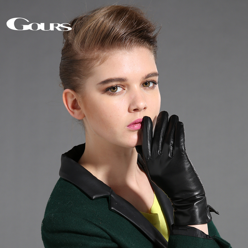 Gours Women's Genuine Leather Gloves Black Sheepskin Finger Touch Screen Gloves Winter Thick Warm Fashion Mittens New GSL087