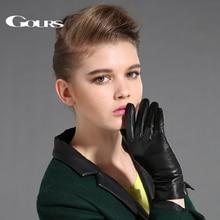 Guanti da donna in vera pelle Gours guanti Touch Screen in pelle di montone neri guanti invernali spessi caldi alla moda nuovo GSL087