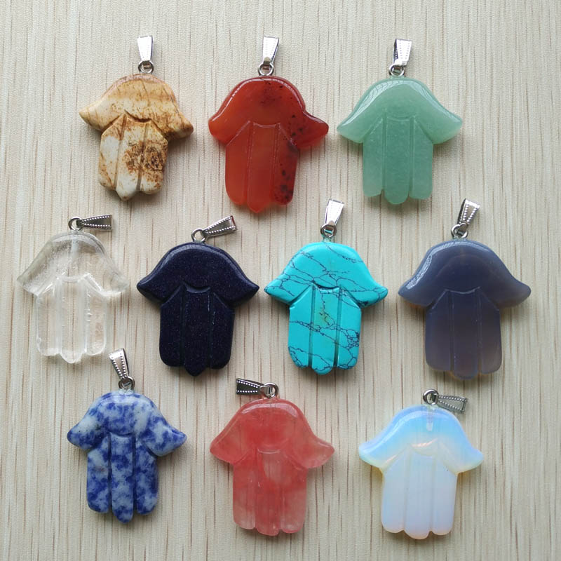 2017 Fashion good quality assorted natural Stone hand palm Charms pendants fit necklace jewelry making 10pcs/lot Wholesale free