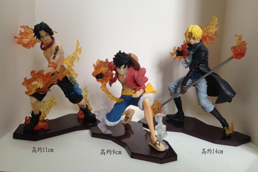 HKXZM Anime One Piece 3PCS/SET Attack Styling Luffy + Sabo + Ace PVC Figures Collectible Model Toys GiftHKXZM Anime One Piece 3PCS/SET Attack Styling Luffy + Sabo + Ace PVC Figures Collectible Model Toys Gift