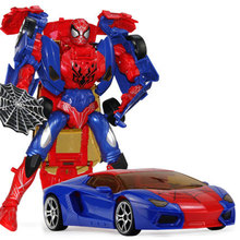 Children Robot Toy Transformation Spiderman Action Figure Toy Robot Car ABS Plastic Model Action Figure Toy for Child