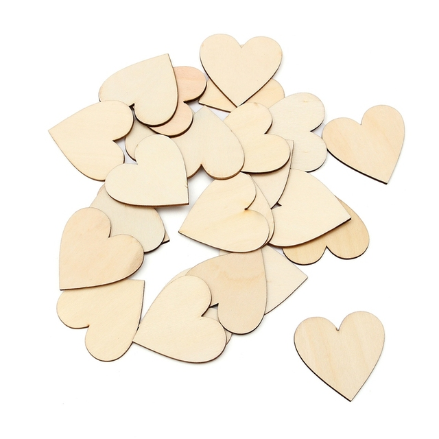 Kiwarm New Wooden Love Heart Shape for Weddings Plaques Art Craft Embellishment For Home Holiday Party DIY Decor Gift Ornament
