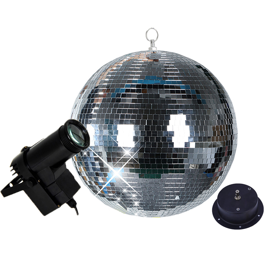 BEIAIDI D20CM 25CM 30CM Glass Mirror Ball Disco Ball Light With Motor 10W RGB Beam Pinspot Lamp Home Party KTV Disco Stage Light