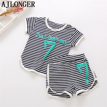 AJLONGER 2PCS Suit Baby Boy Clothes Children Summer Toddler Stripe Clothing Set 2018 New Kids Fashion Cotton Girl Sets