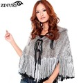 ZDFURS * winther outono moda xale de pele de coelho poncho de pele de malha casaco de pele com capuz borla cape ZDKR-165028