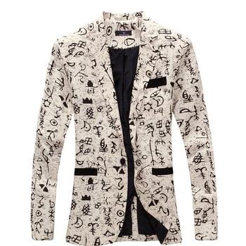 New Slim Fit Suit comfortable Brand Blazer Design Hip Hot Casual Male Tide Mens Fashion Print Jacket Singer Costume Plus Size