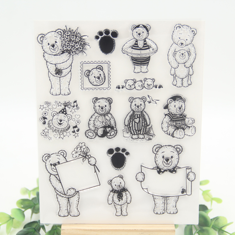 1 sheet DIY Teddy Bear Transparent Clear Rubber Stamp Seal Paper Craft Scrapbooking Decoration aspirations of girl diy transparent clear rubber stamp seal paper craft photo album diary scrapbooking paper card rm 244