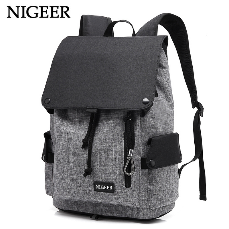 NIGEER Waterproof Large Capacity 14 Inch Laptop Bag Man USB Design Backpacks Teenage Girls Women School Trip Bags n199A jmd backpacks for teenage girls women leather with headphone jack backpack school bag casual large capacity vintage laptop bag
