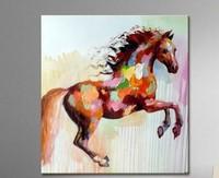 100% Handpainted תמונות סוס ריצה בעלי החיים מודרני מופשט אמנות קיר שמן על בד לסלון דקור