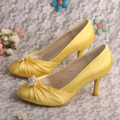 "Wedopus Fashion Women Shoes Yellow Round Toe Pearl Satin 3"" Thin Heels Wedding Bridal Pumps"