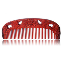 Gift Hair Brush Pure Natural Double Sided Carving Butterfly Professional Anti Static Hair Brush 1 Pc