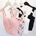 Floral Blusa Entallada Camisola Mujer Eneldo Cami Tank Top Mujer Feminino Recortada Tops mujeres Negro Corto Tops Chaleco Recortada madres