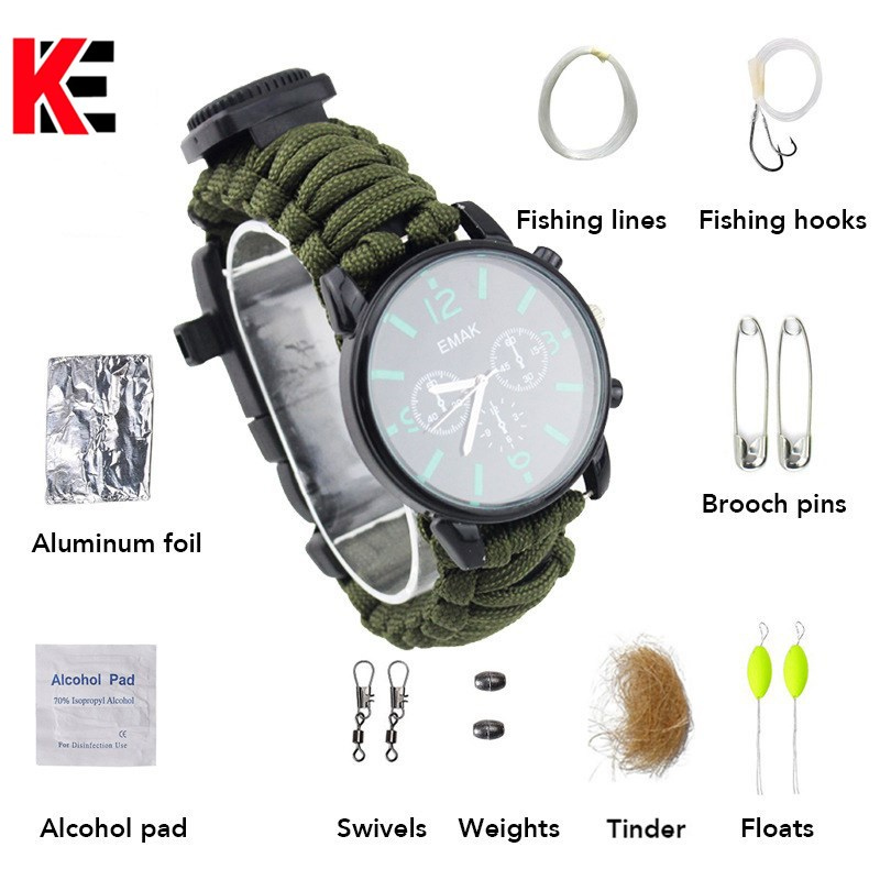Outdoor Survival watch first aid kit camping equipment multitool mens watch earthquake relief self-denfense survival tool ...