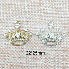 10pcs DIY Jewelry Accessories Rhinestone Crown Charms Gold Silver Alloy Pendant Bracelet Finding Necklace Making Material YZ055(China)