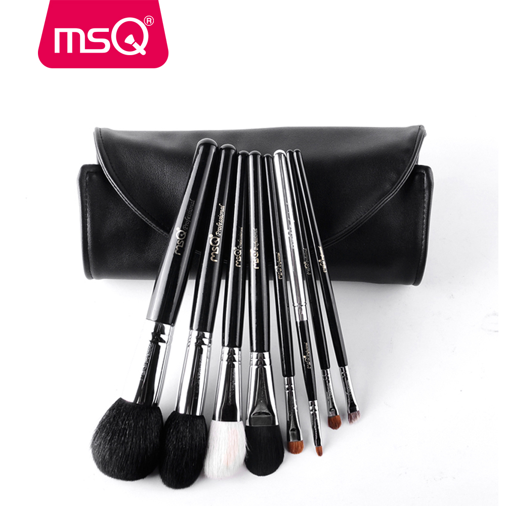 MSQ 8pcs Pro Makeup Brushes Set Foundation Powder Make Up Brush For Travel Soft Natural Hair Copper Ferrule With PU Leather Case msq professional 15pcs makeup brushes set soft synthetic hair natural wood handle with pu leather case for beauty fashion tool