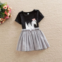 New Infant Baby Girls Summer Dress Cute Swan Romper Pleated Dress Patchwork Casual Summer Girl Outfits