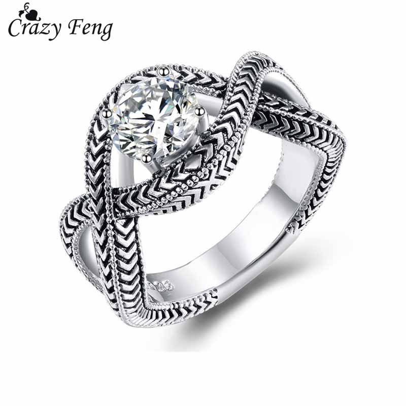 2018 New Design Infinity Rings For Women Fashion Bling CZ Crystal Female Carved Finger Ring Party Engagement Jewelry Wholesale