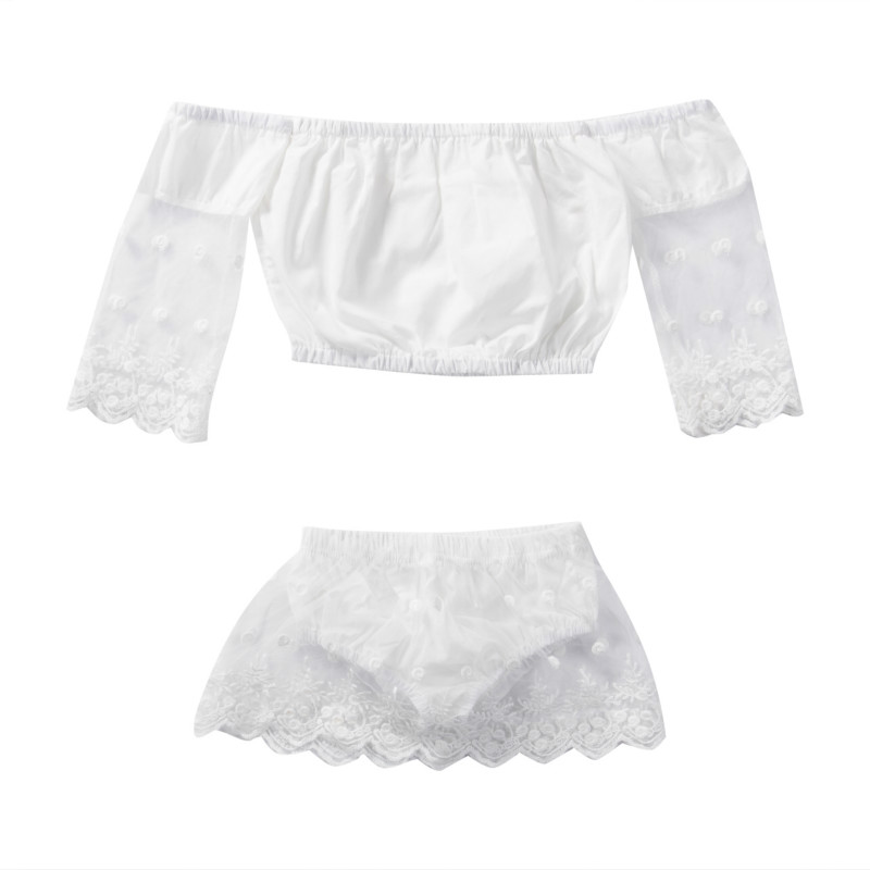 0-2Y Baby Girls Infant Kids Newborn Cotton Lace Long Sleeve Off Shoulder Blouse Tops + Ruffles Shorts 2PCS Outfits Set Clothes