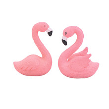 Pack of 2 Decorative Beautiful Plastic Pink Delicate DIY Flamingo Fairy Garden Decor Craft Dollhouse Accessory A20(China)