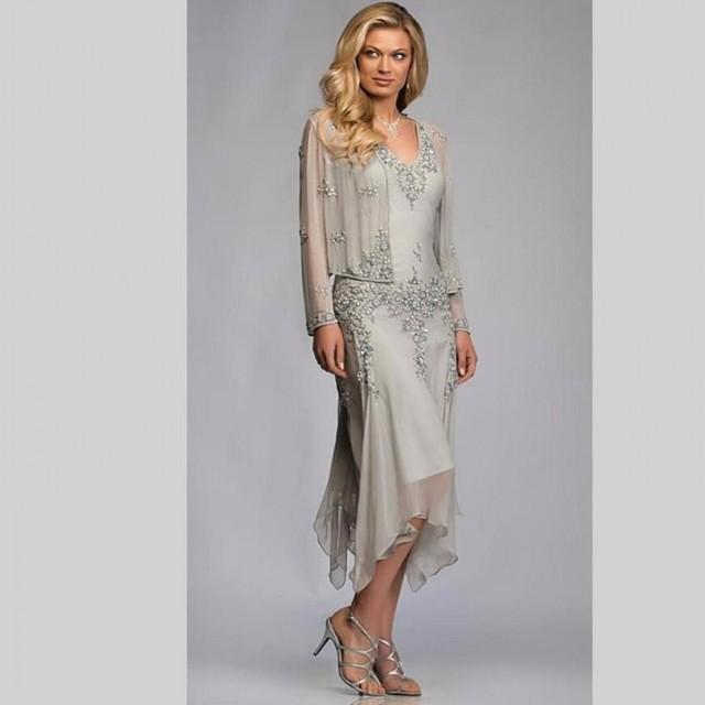 Mãe do vintage Dos Vestidos de Noiva Uma Linha Com Apliques lantejoulas Chiffon Plus Size Mãe Do Noivo Vestido de Festa de Casamento Das Mulheres vestido