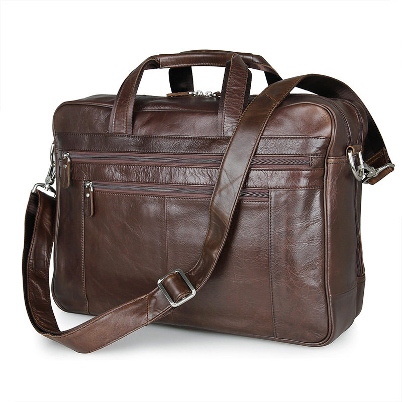 Nesitu Real Skin Coffee Color Genuine Leather Men Messenger Bags Cowhide Portfolio Man Briefcase 15.6 inch Laptop Bag #M7319