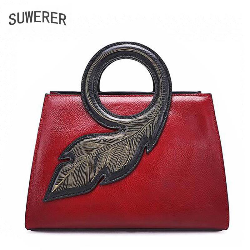 Suwerer 2018 New Superior Cowhide Handmade Luxury Art Bag Women Genuine Leather Bags Fashion Handbags