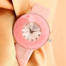 HK Marca de moda Femenina de Corea Regalo de Lujo Correa de cuero Genuino reloj Grande Del Dial Relojes de Vestir de Alto Grado Del Diamante de Señora Girl reloj