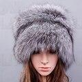 Mujeres Silver fox sombrero con sombreros de invierno cálido Mantener fuera el frío Casquillo de la nieve Gorro de Piel Verdadera de cuero Cráneo Tejer Skullies sombrero de piel de zorro