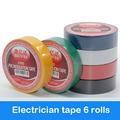 6 шт. цветная электрическая лента ПВХ износостойкая огнестойкая свинцовая электрическая изоляционная лента водостойкая цветная лента - фото