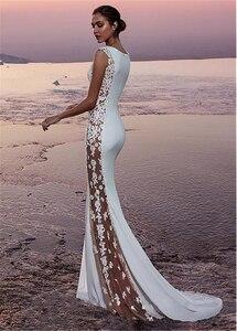 Image 3 - Fabulous Stretch Satin Bateau Ausschnitt Sehen durch Ausschnitt Seite Meerjungfrau Hochzeit Kleid Mit Perlen Spitze Appliques Braut Kleid