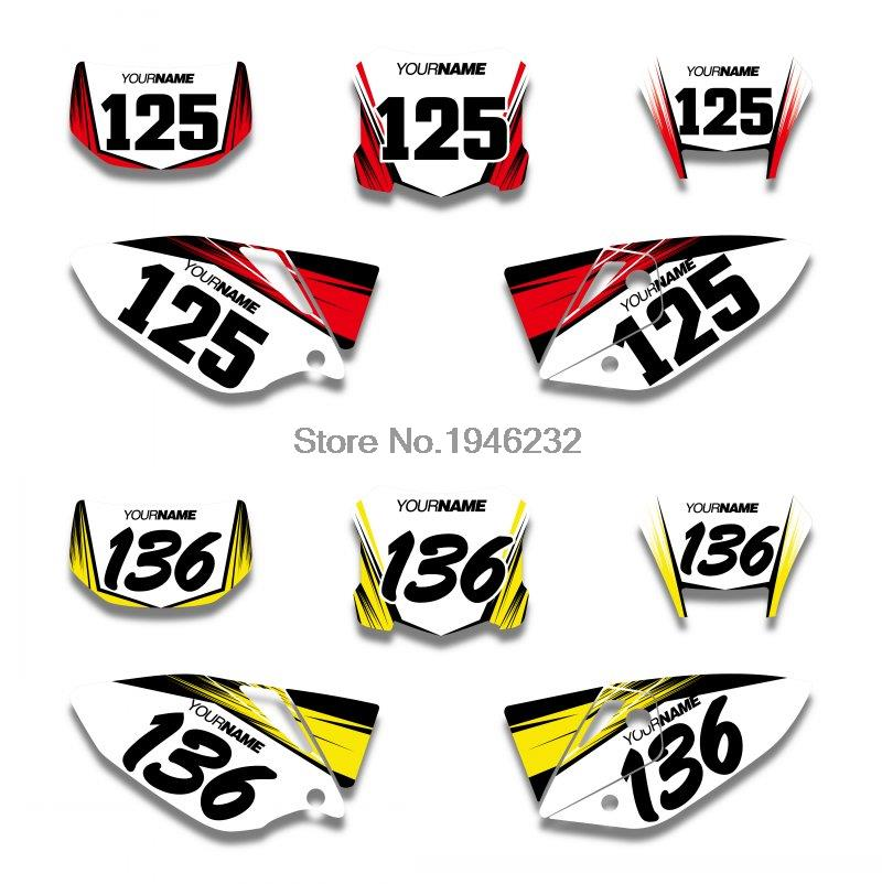 H2CNC Custom Number Plate Background Graphics Sticker & Decal For Honda CRF450X 2005 - 2014 2006 2008 2010 2012 2013 CRF 450X