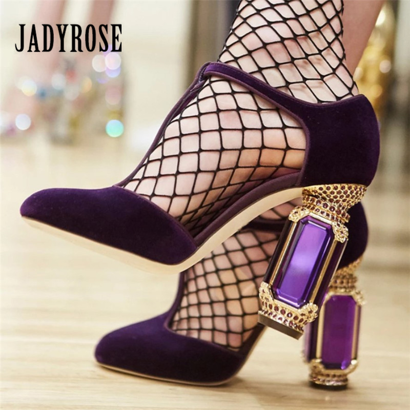 Jady Rose Retro Crystal Heel Women Pumps Sexy High Heels Velvet Mary Jane Shoes Woman Wedding
