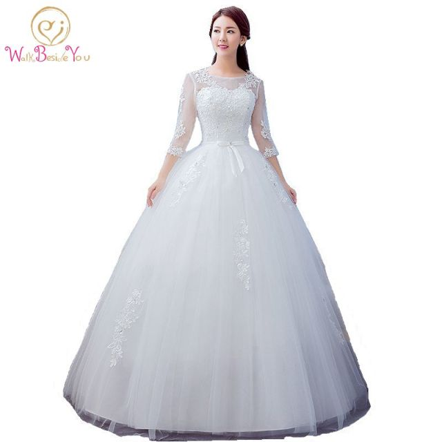 2019 Best Selling Ball Gown Lace Tulle Red Ivory Three Quarter Wedding Dress Chinese Style Cheap China Bridal Gown Online Store