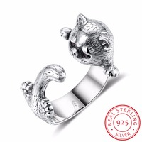 New Authentic 925 Sterling Silver Cat Rings For Women Silver Jewelry Adjustable Size Open Cat Ring