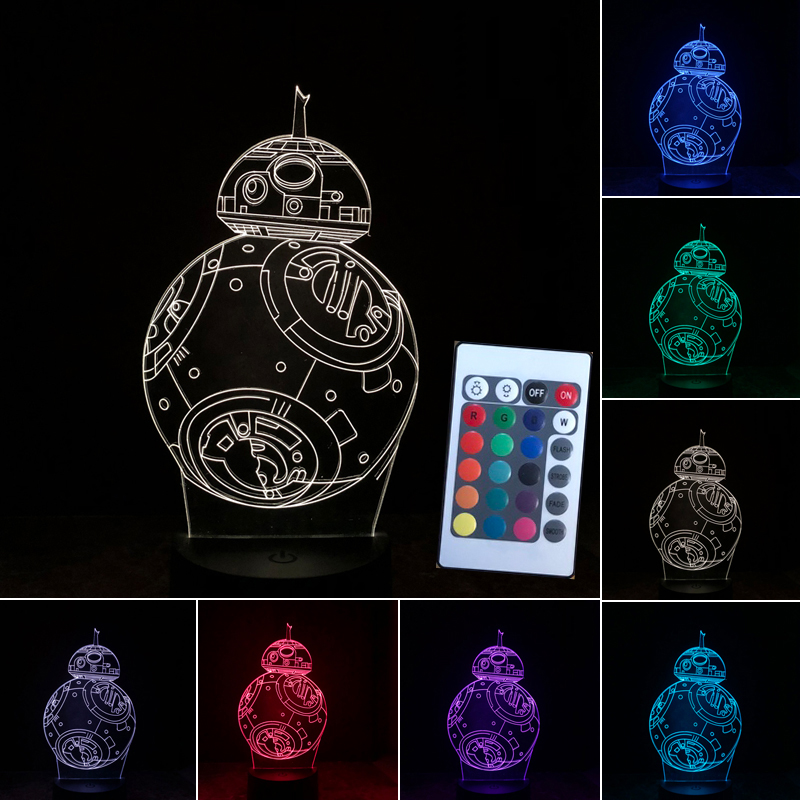 Creative Star Wars 3D BB8 Light Lampada USB LED Lighting 7 Colors Bedroom Table Lamp Decor Nightlight for Kids Sleeping Gift