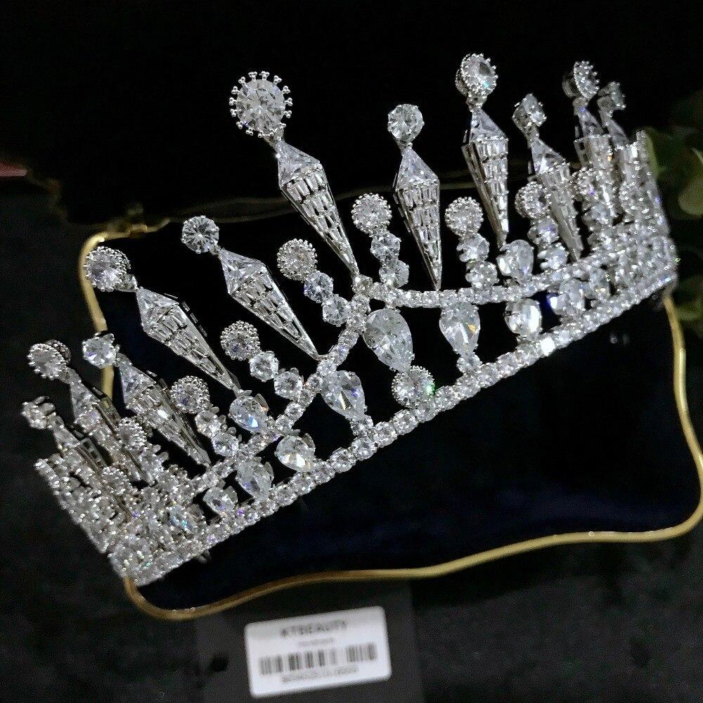 Nueva Corona de circonita de plata con diamantes de imitación hecha a medida Tiara grande tocado de novia real accesorios de la corona de la boda joyería de las mujeres-in Joyería para el cabello from Joyería y accesorios on Aliexpress.com   Alibaba Group