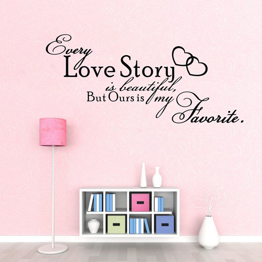 Bedroom Vinyl Wall Decals Every Love Story Is Beautiful QUOTE Wall Stickers  Bedroom Decor Free Shipping