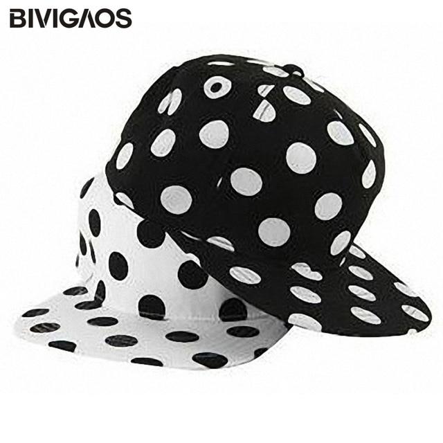 2fa3906d6b9 Korean Fashion Women Snapback Cap Leisure Wild Black White Dots Hip-hop Hats  Baseball Caps