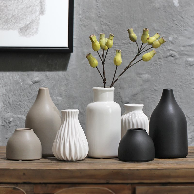 Japanese Modern Art Jane White Ceramic Vase Flower Handmade Craft Gift Room Home Furnishing Home Decoration Accessories