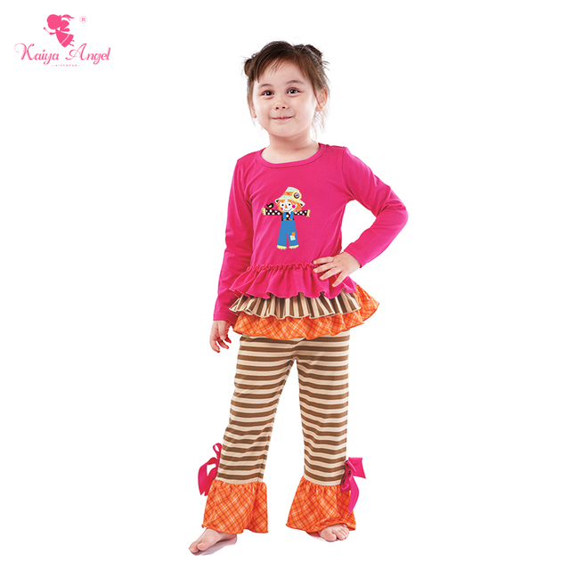 638303c48 Kaiya Angel Hot Halloween Scarecrow Boutique kids Clothes Factory Wholesale  Toddler Girls Boys Summer Autumn Winter Outfits Set