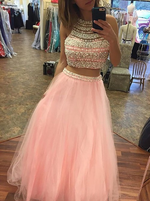 New Style Two Pieces   Prom     Dresses   Pink Beaded Halter Neck Sleeveless Tulle Party Evening   Dress