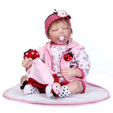 22 Inch 55CM NPK Dolls Reborn Silicone Babies Sleeping Girls Fashion Doll Toys Lifelike Baby Kids