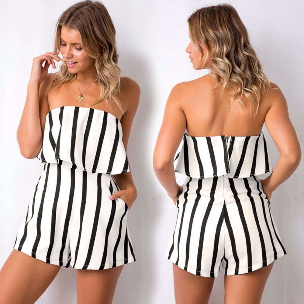 Summer new popular European and American black and white stripes loose slim tight wrapped chest print casual women's   jumpsuit